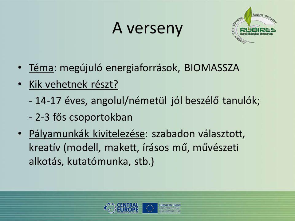 A verseny • Téma: megújuló energiaforrások, BIOMASSZA • Kik vehetnek részt.