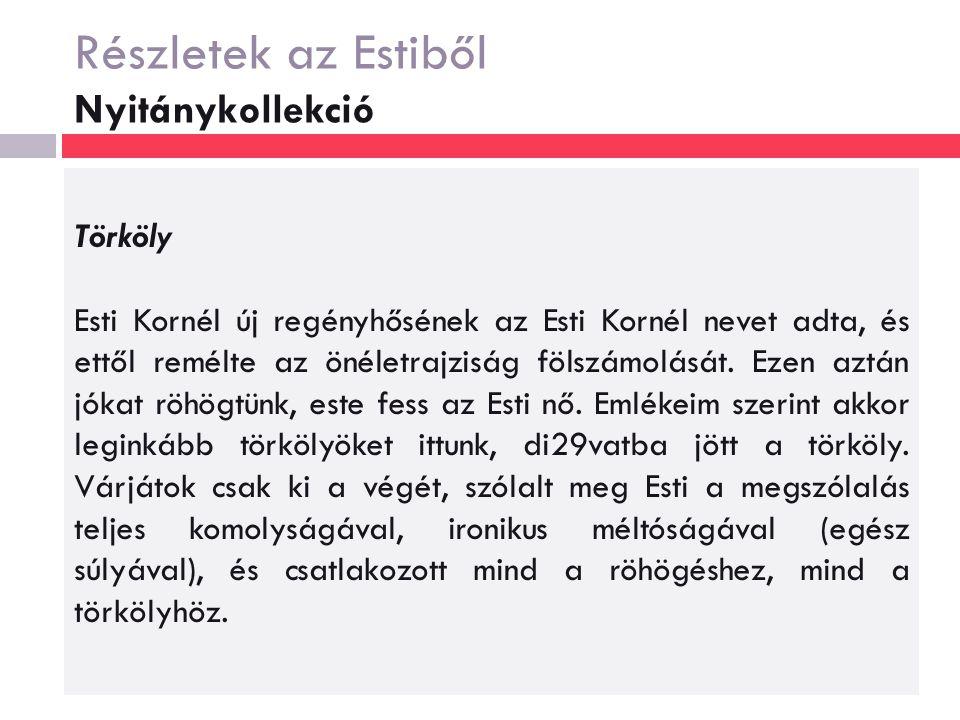 Részletek az Estiből Nyitánykollekció Törköly Esti Kornél új regényhősének az Esti Kornél nevet adta, és ettől remélte az önéletrajziság fölszámolását.