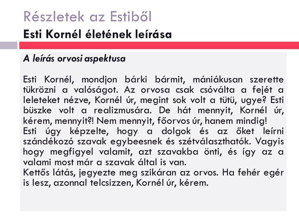 Részletek az Estiből Esti Kornél életének leírása A leírás orvosi aspektusa Esti Kornél, mondjon bárki bármit, mániákusan szerette tükrözni a valóságot.
