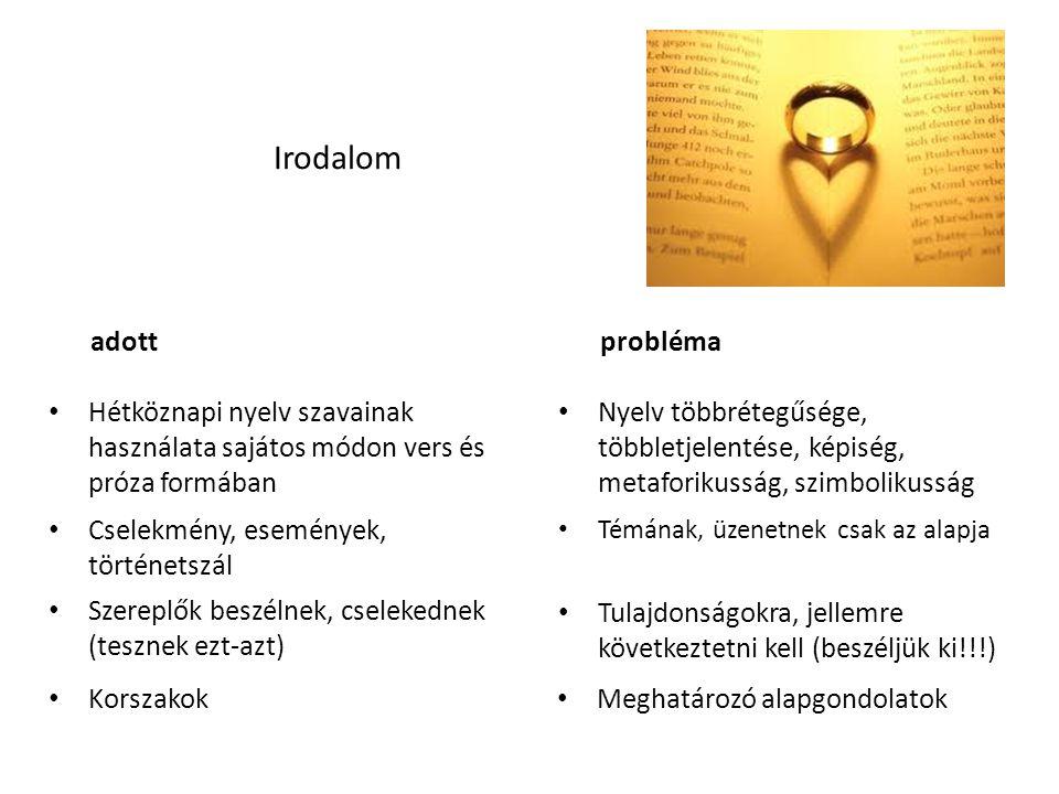 • Hétköznapi nyelv szavainak használata sajátos módon vers és próza formában • Nyelv többrétegűsége, többletjelentése, képiség, metaforikusság, szimbo
