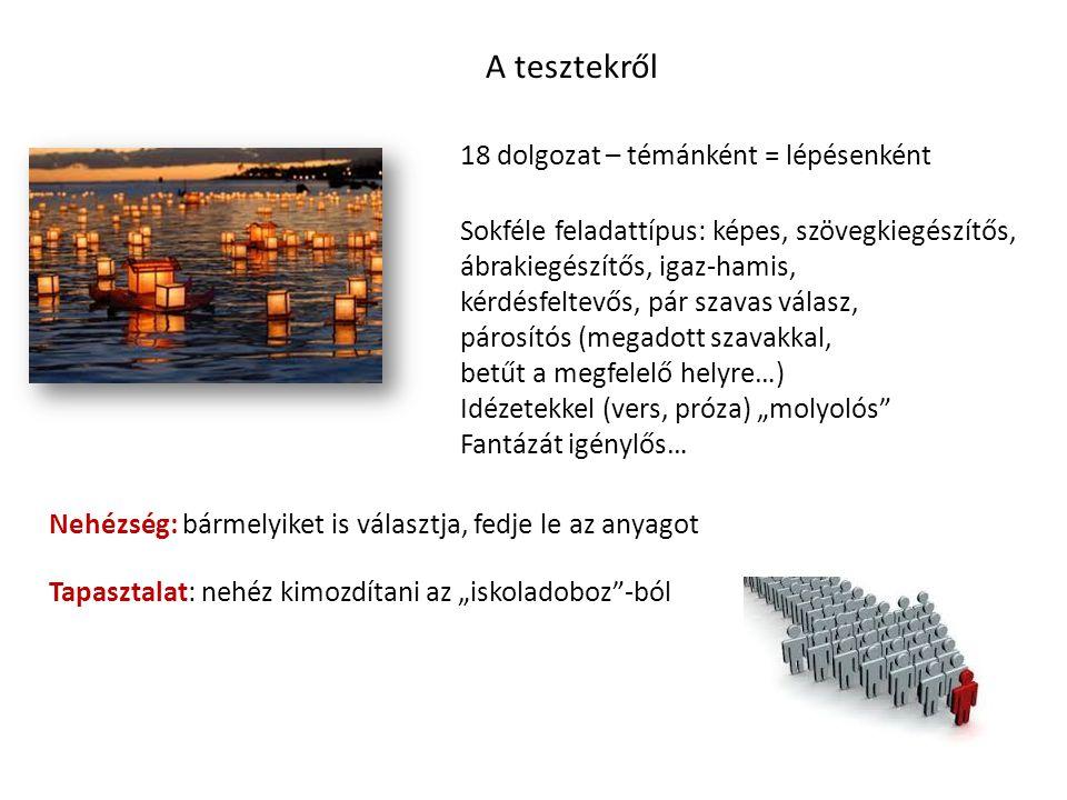 A tesztekről 18 dolgozat – témánként = lépésenként Sokféle feladattípus: képes, szövegkiegészítős, ábrakiegészítős, igaz-hamis, kérdésfeltevős, pár sz