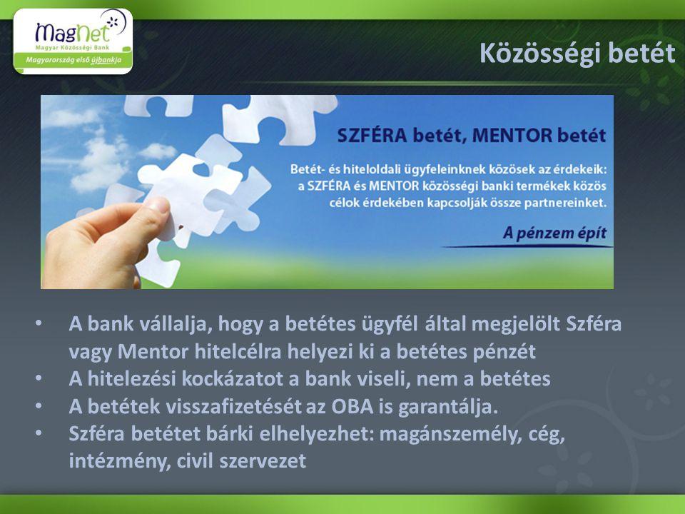 Közösségi betét • A bank vállalja, hogy a betétes ügyfél által megjelölt Szféra vagy Mentor hitelcélra helyezi ki a betétes pénzét • A hitelezési kockázatot a bank viseli, nem a betétes • A betétek visszafizetését az OBA is garantálja.