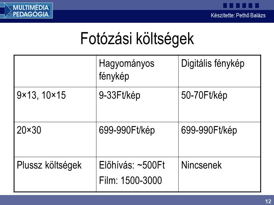 Készítette: Pethő Balázs 12 Fotózási költségek Hagyományos fénykép Digitális fénykép 9×13, 10×159-33Ft/kép50-70Ft/kép 20×30699-990Ft/kép Plussz költségekElőhívás: ~500Ft Film: 1500-3000 Nincsenek