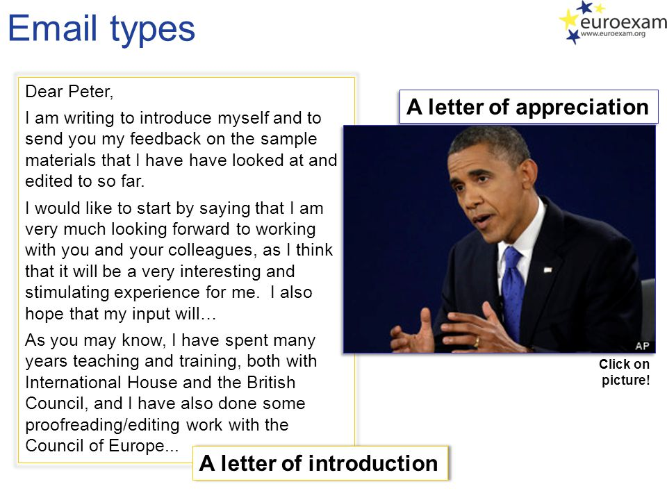 Email types Dear Peter, I am writing to introduce myself and to send you my feedback on the sample materials that I have have looked at and edited to