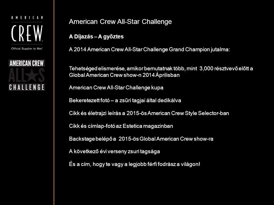 American Crew All-Star Challenge A Díjazás – A győztes A 2014 American Crew All-Star Challenge Grand Champion jutalma: Tehetséged elismerése, amikor b