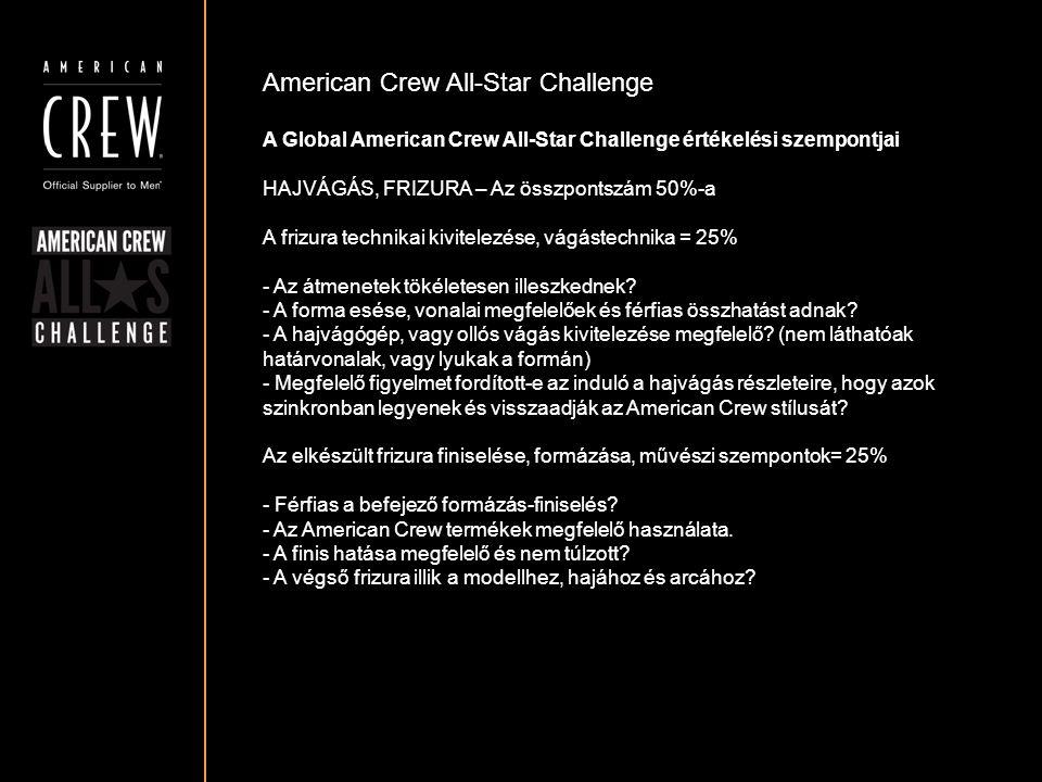 American Crew All-Star Challenge A Global American Crew All-Star Challenge értékelési szempontjai HAJVÁGÁS, FRIZURA – Az összpontszám 50%-a A frizura