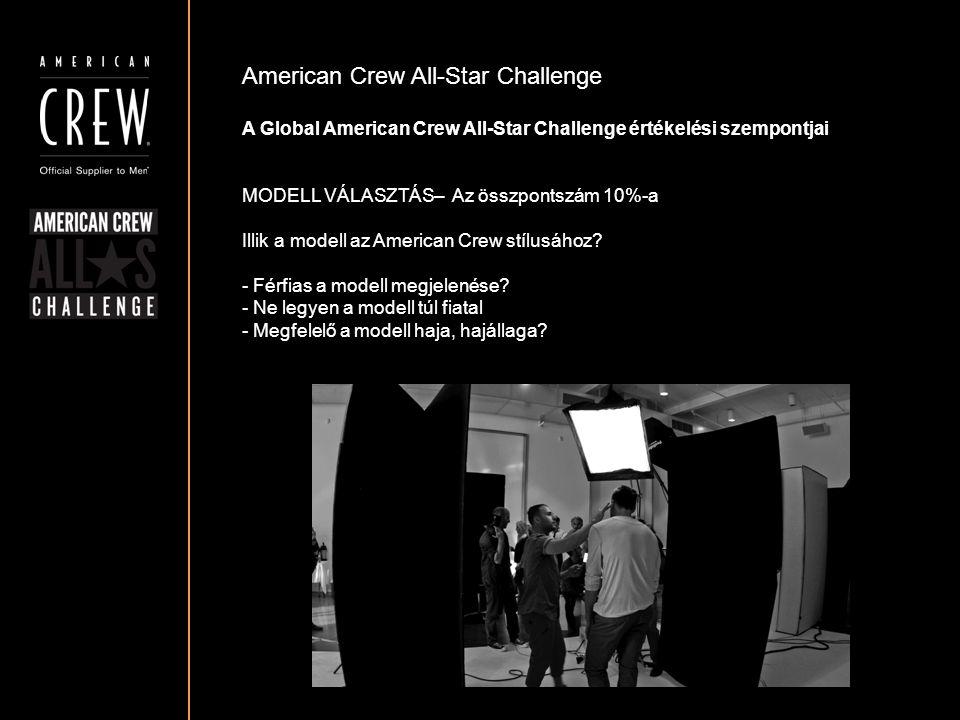 American Crew All-Star Challenge A Global American Crew All-Star Challenge értékelési szempontjai MODELL VÁLASZTÁS– Az összpontszám 10%-a Illik a mode