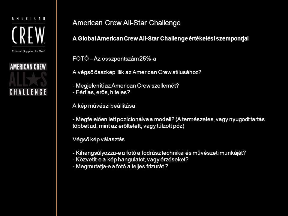 American Crew All-Star Challenge A Global American Crew All-Star Challenge értékelési szempontjai FOTÓ – Az összpontszám 25%-a A végső összkép illik a