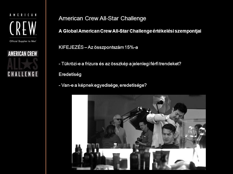 American Crew All-Star Challenge A Global American Crew All-Star Challenge értékelési szempontjai KIFEJEZÉS – Az összpontszám 15%-a - Tükrözi-e a friz