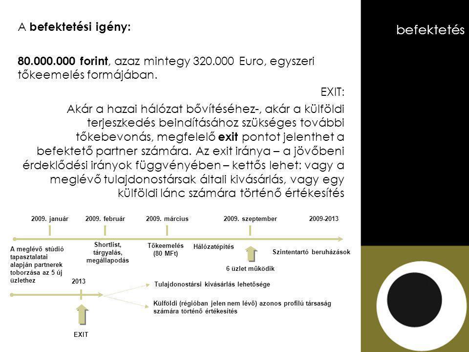 A befektetési igény: 80.000.000 forint, azaz mintegy 320.000 Euro, egyszeri tőkeemelés formájában.