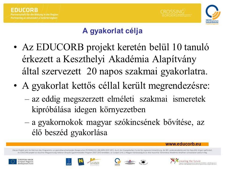 www.educorb.eu A gyakorlat célja •Az EDUCORB projekt keretén belül 10 tanuló érkezett a Keszthelyi Akadémia Alapítvány által szervezett 20 napos szakmai gyakorlatra.