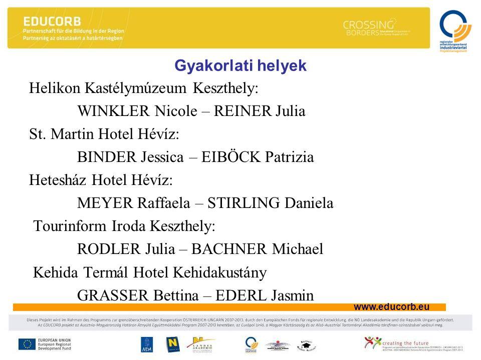 www.educorb.eu Gyakorlati helyek Helikon Kastélymúzeum Keszthely: WINKLER Nicole – REINER Julia St.
