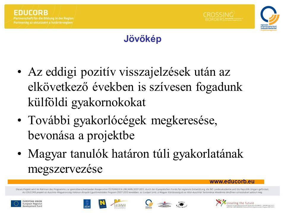 www.educorb.eu Jövőkép •Az eddigi pozitív visszajelzések után az elkövetkező években is szívesen fogadunk külföldi gyakornokokat •További gyakorlócégek megkeresése, bevonása a projektbe •Magyar tanulók határon túli gyakorlatának megszervezése