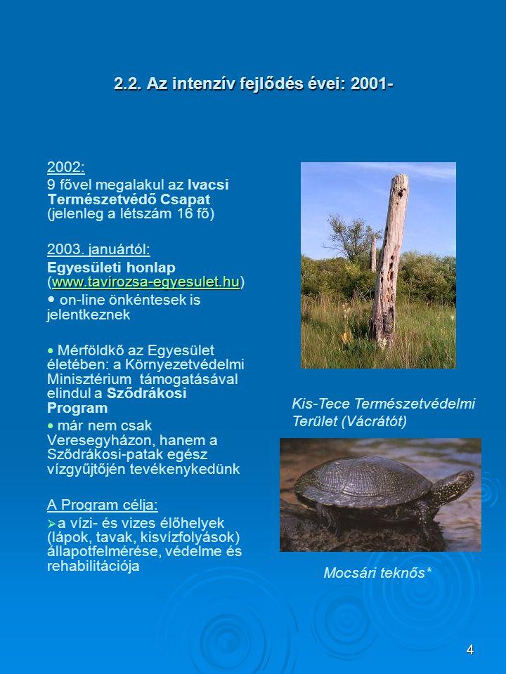 4 2.2. Az intenzív fejlődés évei: 2001- 2002: 9 fővel megalakul az Ivacsi Természetvédő Csapat (jelenleg a létszám 16 fő) 2003. januártól: www.taviroz