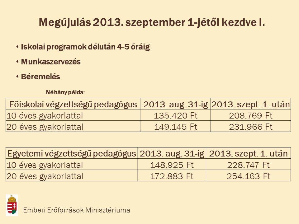 • Iskolai programok délután 4-5 óráig • Munkaszervezés • Béremelés Néhány példa: Megújulás 2013.