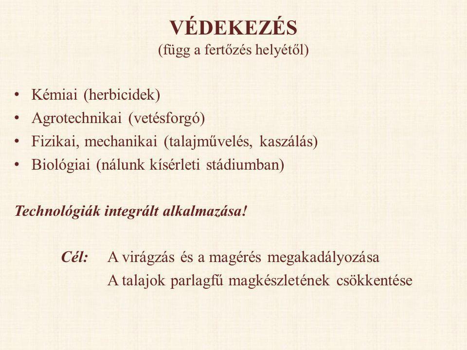 VÉDEKEZÉS (függ a fertőzés helyétől) • Kémiai (herbicidek) • Agrotechnikai (vetésforgó) • Fizikai, mechanikai (talajművelés, kaszálás) • Biológiai (ná