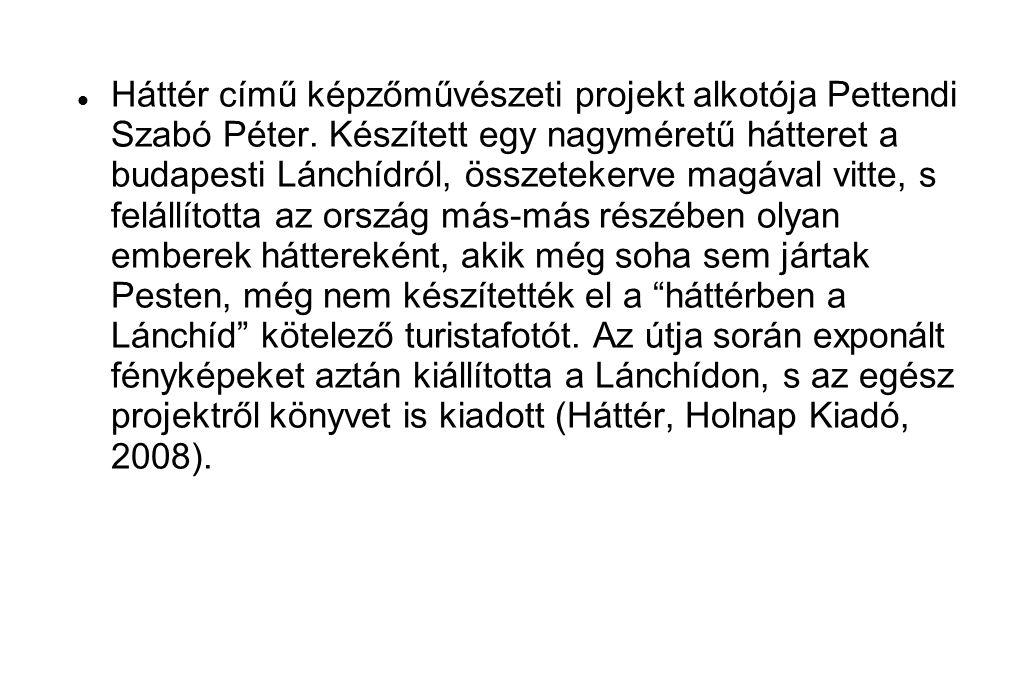  Háttér című képzőművészeti projekt alkotója Pettendi Szabó Péter. Készített egy nagyméretű hátteret a budapesti Lánchídról, összetekerve magával vit