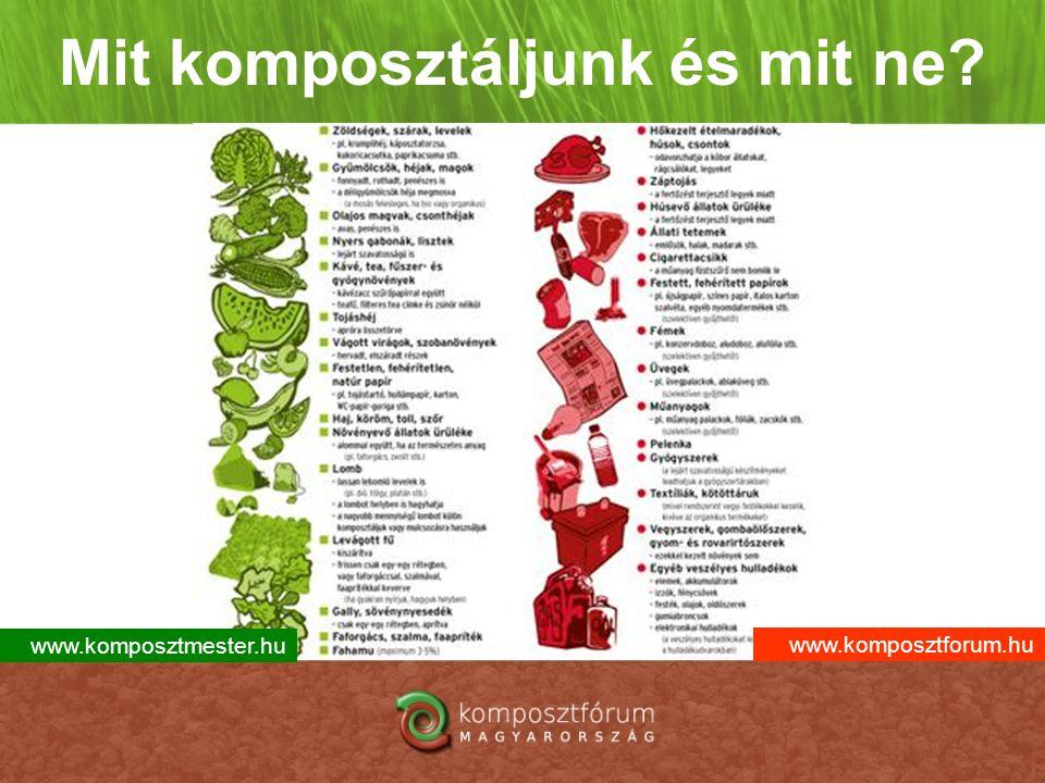 Mit komposztáljunk és mit ne? www.komposztmester.hu www.komposztforum.hu