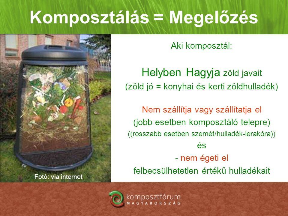Komposztálás = Megelőzés Aki komposztál: Helyben Hagyja zöld javait (zöld jó = konyhai és kerti zöldhulladék) Nem szállítja vagy szállítatja el (jobb