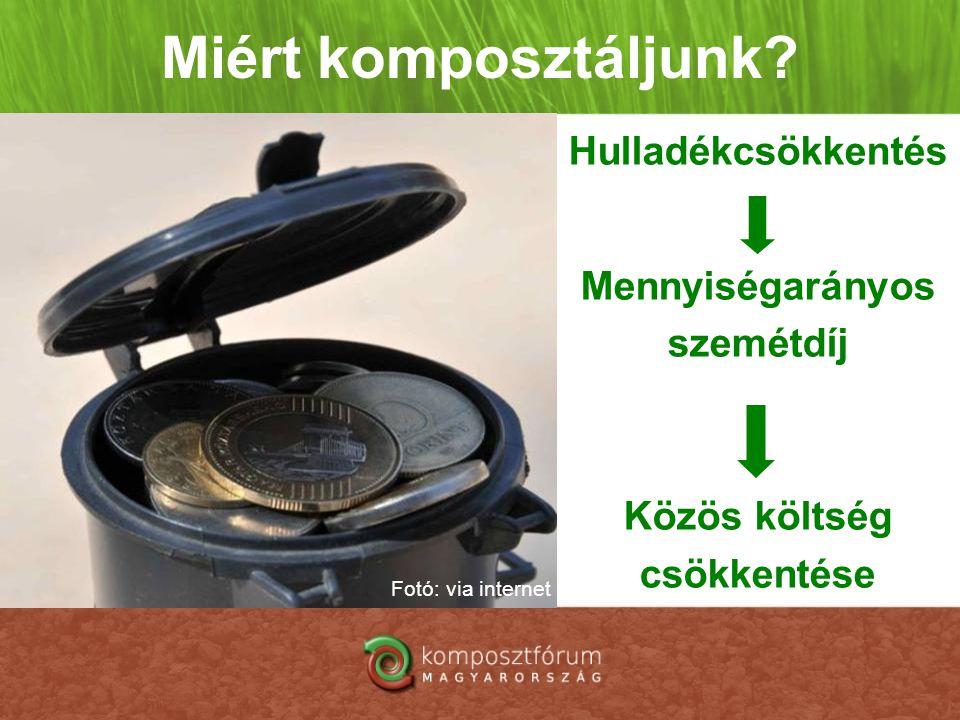 Miért komposztáljunk? Hulladékcsökkentés Mennyiségarányos szemétdíj Közös költség csökkentése Fotó: via internet