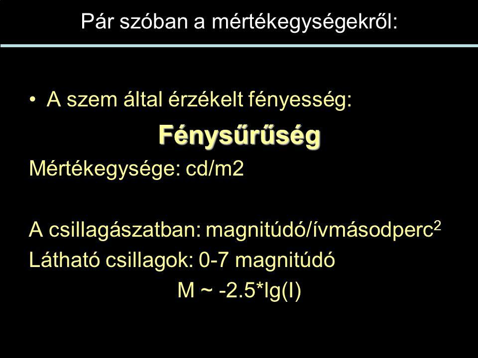 Pár szóban a mértékegységekről: •A szem által érzékelt fényesség:Fénysűrűség Mértékegysége: cd/m2 A csillagászatban: magnitúdó/ívmásodperc 2 Látható csillagok: 0-7 magnitúdó M ~ -2.5*lg(I)