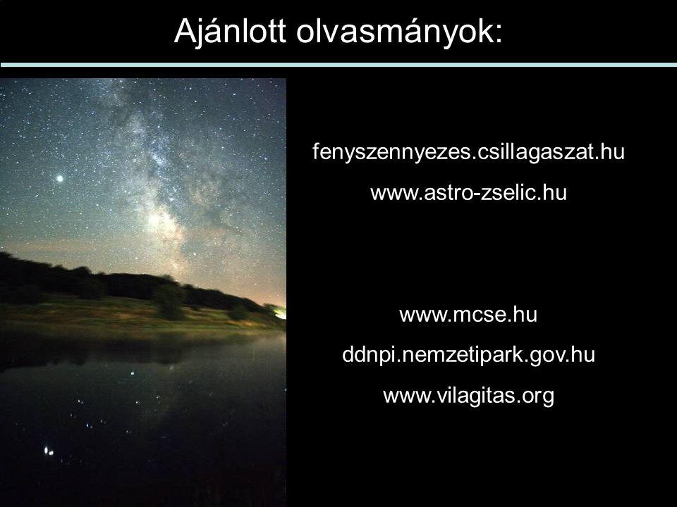 Ajánlott olvasmányok: fenyszennyezes.csillagaszat.hu www.astro-zselic.hu www.mcse.hu ddnpi.nemzetipark.gov.hu www.vilagitas.org