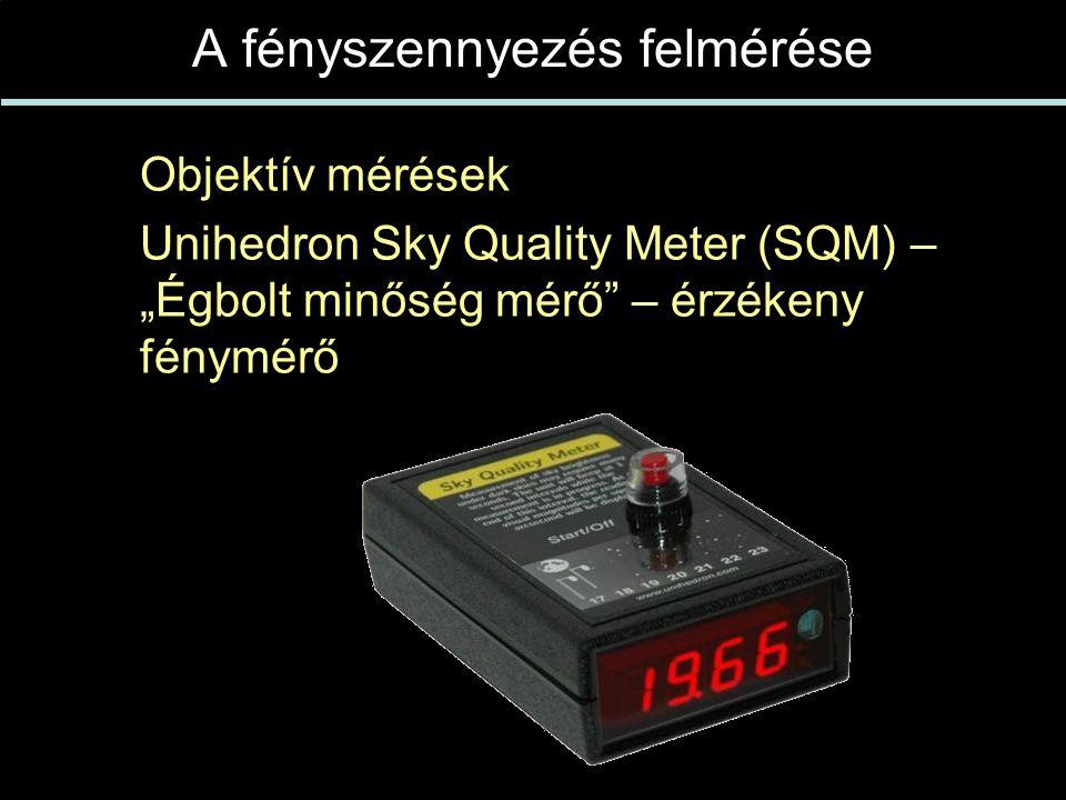 """A fényszennyezés felmérése  Objektív mérések  Unihedron Sky Quality Meter (SQM) – """"Égbolt minőség mérő – érzékeny fénymérő"""