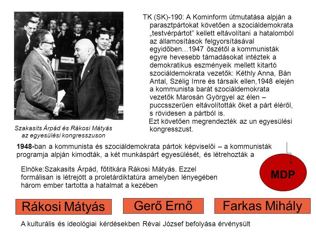 """Szakasits Árpád és Rákosi Mátyás az egyesülési kongresszuson MDP TK (SK)-190: A Kominform útmutatása alpján a parasztpártokat követően a szociáldemokrata """"testvérpártot kellett eltávolítani a hatalomból az államosítások felgyorsításával egyidőben...1947 őszétől a kommunisták egyre hevesebb támadásokat intéztek a demokratikus eszményeik mellett kitartó szociáldemokrata vezetők: Kéthly Anna, Bán Antal, Szélig Imre és társaik ellen,1948 elején a kommunista barát szociáldemokrata vezetők Marosán Györgyel az élen – puccsszerűen eltávolították őket a párt éléről, s rövidesen a pártból is."""