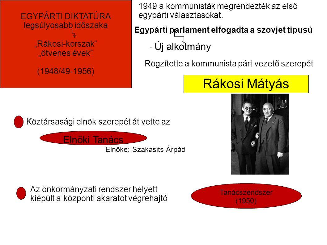 Rákosi Mátyás 1949 a kommunisták megrendezték az első egypárti választásokat.
