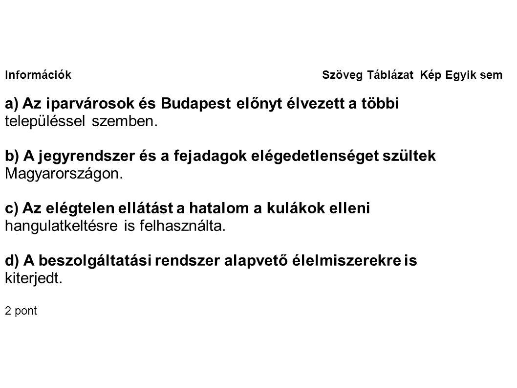 Információk Szöveg Táblázat Kép Egyik sem a) Az iparvárosok és Budapest előnyt élvezett a többi településsel szemben.
