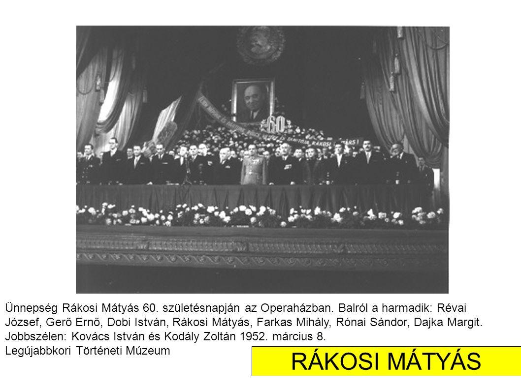 Ünnepség Rákosi Mátyás 60.születésnapján az Operaházban.