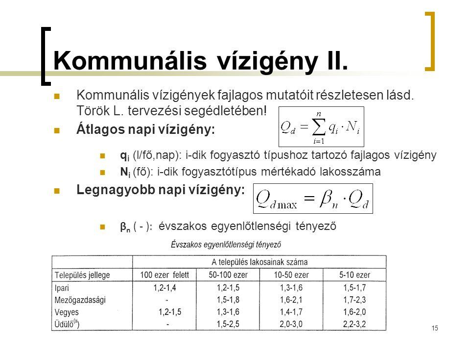 Kommunális vízigény II. Kommunális vízigények fajlagos mutatóit részletesen lásd.