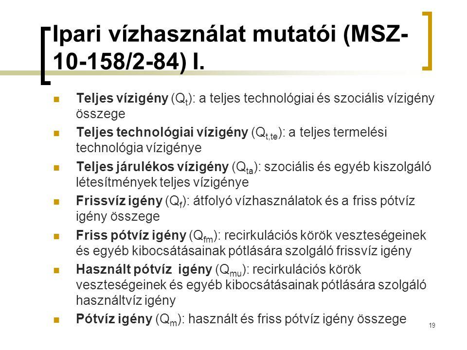 Ipari vízhasználat mutatói (MSZ- 10-158/2-84) I.  Teljes vízigény (Q t ): a teljes technológiai és szociális vízigény összege  Teljes technológiai v