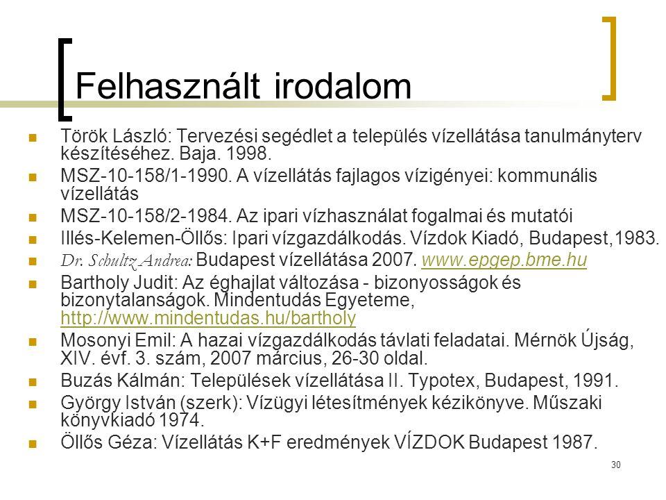 30 Felhasznált irodalom  Török László: Tervezési segédlet a település vízellátása tanulmányterv készítéséhez. Baja. 1998.  MSZ-10-158/1-1990. A víze