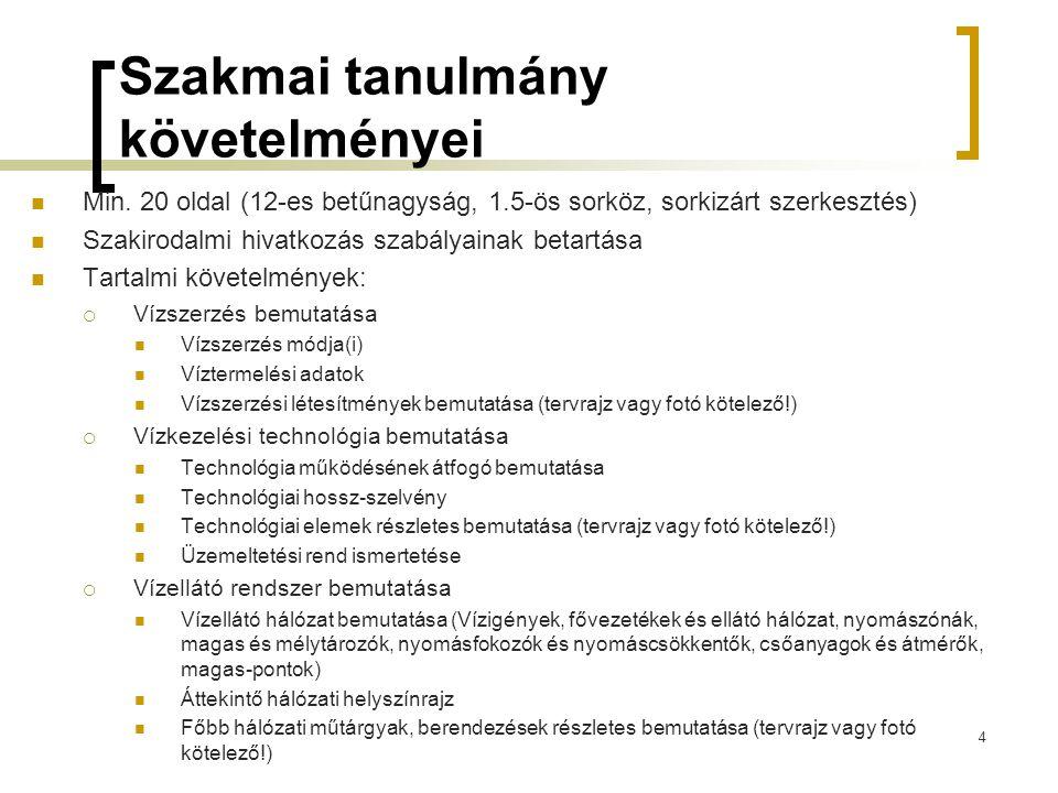 Szakmai tanulmány követelményei  Min. 20 oldal (12-es betűnagyság, 1.5-ös sorköz, sorkizárt szerkesztés)  Szakirodalmi hivatkozás szabályainak betar