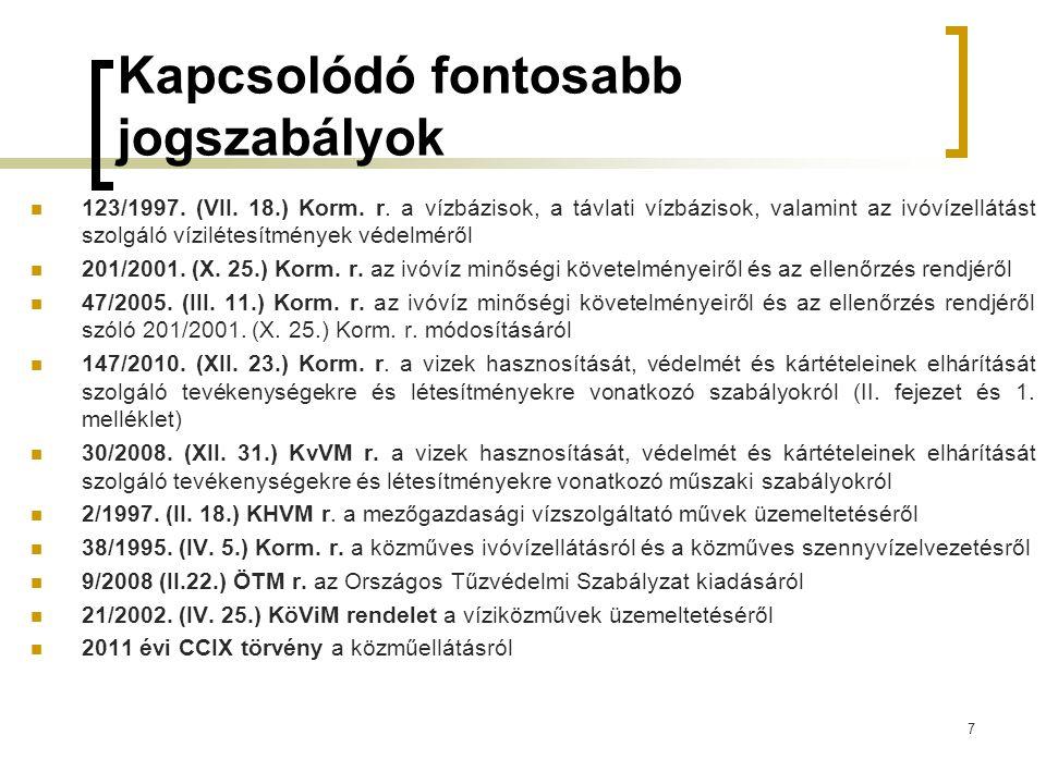 Kapcsolódó fontosabb jogszabályok  123/1997.(VII.