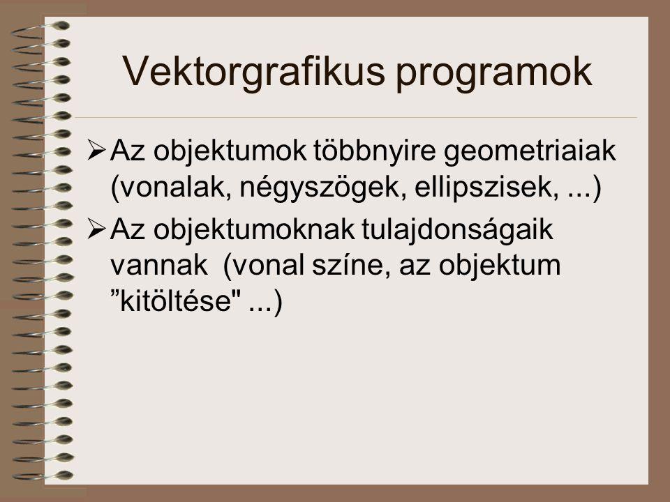Vektorgrafikus programok  Az objektumok többnyire geometriaiak (vonalak, négyszögek, ellipszisek,...)  Az objektumoknak tulajdonságaik vannak (vonal színe, az objektum kitöltése ...)