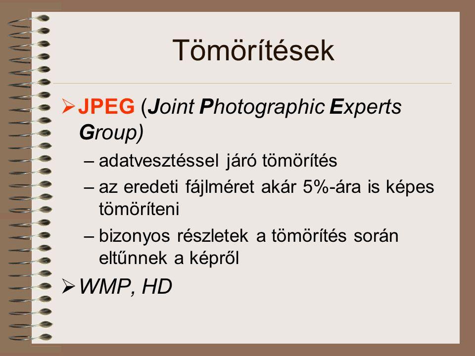 Tömörítések  JPEG (Joint Photographic Experts Group) –adatvesztéssel járó tömörítés –az eredeti fájlméret akár 5%-ára is képes tömöríteni –bizonyos részletek a tömörítés során eltűnnek a képről  WMP, HD