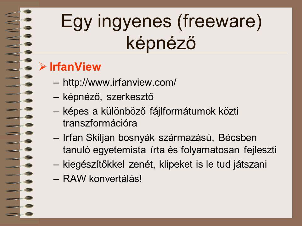 Egy ingyenes (freeware) képnéző  IrfanView –http://www.irfanview.com/ –képnéző, szerkesztő –képes a különböző fájlformátumok közti transzformációra –Irfan Skiljan bosnyák származású, Bécsben tanuló egyetemista írta és folyamatosan fejleszti –kiegészítőkkel zenét, klipeket is le tud játszani –RAW konvertálás!