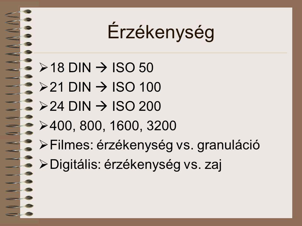 Érzékenység  18 DIN  ISO 50  21 DIN  ISO 100  24 DIN  ISO 200  400, 800, 1600, 3200  Filmes: érzékenység vs. granuláció  Digitális: érzékenys