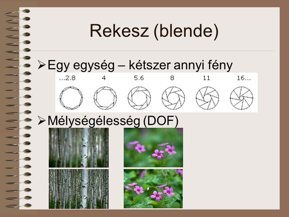 Rekesz (blende)  Egy egység – kétszer annyi fény  Mélységélesség (DOF)