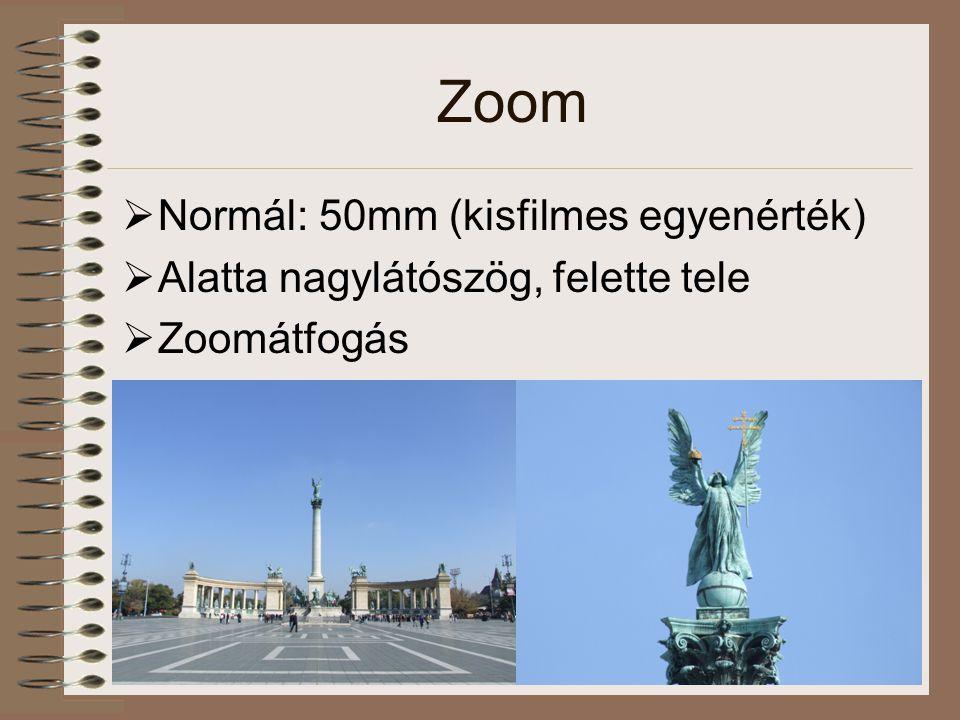 Zoom  Normál: 50mm (kisfilmes egyenérték)  Alatta nagylátószög, felette tele  Zoomátfogás