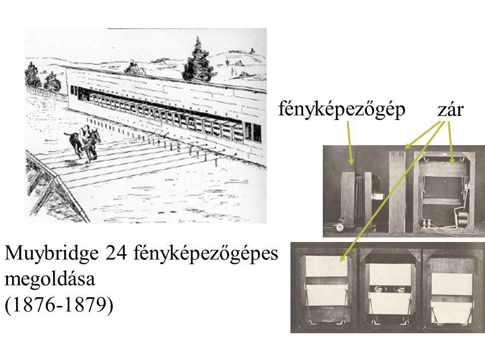 Muybridge 24 fényképezőgépes megoldása (1876-1879) fényképezőgép zár