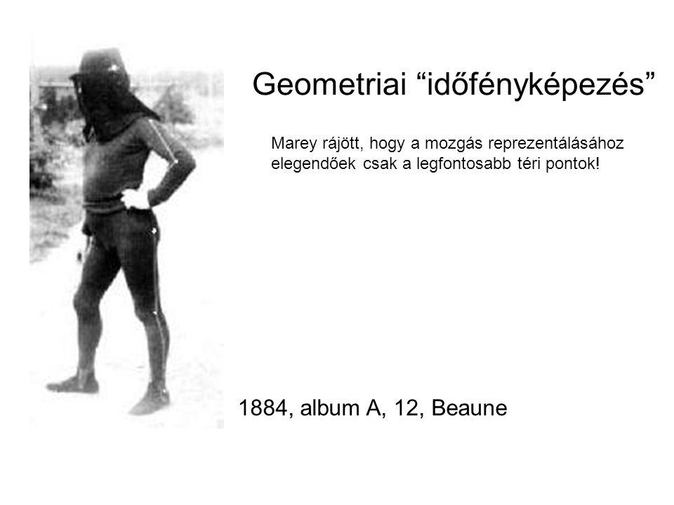 """1884, album A, 12, Beaune Geometriai """"időfényképezés"""" Marey rájött, hogy a mozgás reprezentálásához elegendőek csak a legfontosabb téri pontok!"""