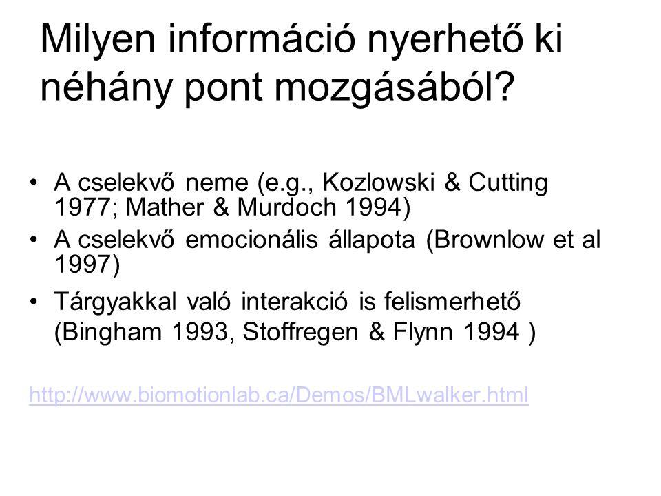 Milyen információ nyerhető ki néhány pont mozgásából? •A cselekvő neme (e.g., Kozlowski & Cutting 1977; Mather & Murdoch 1994) •A cselekvő emocionális