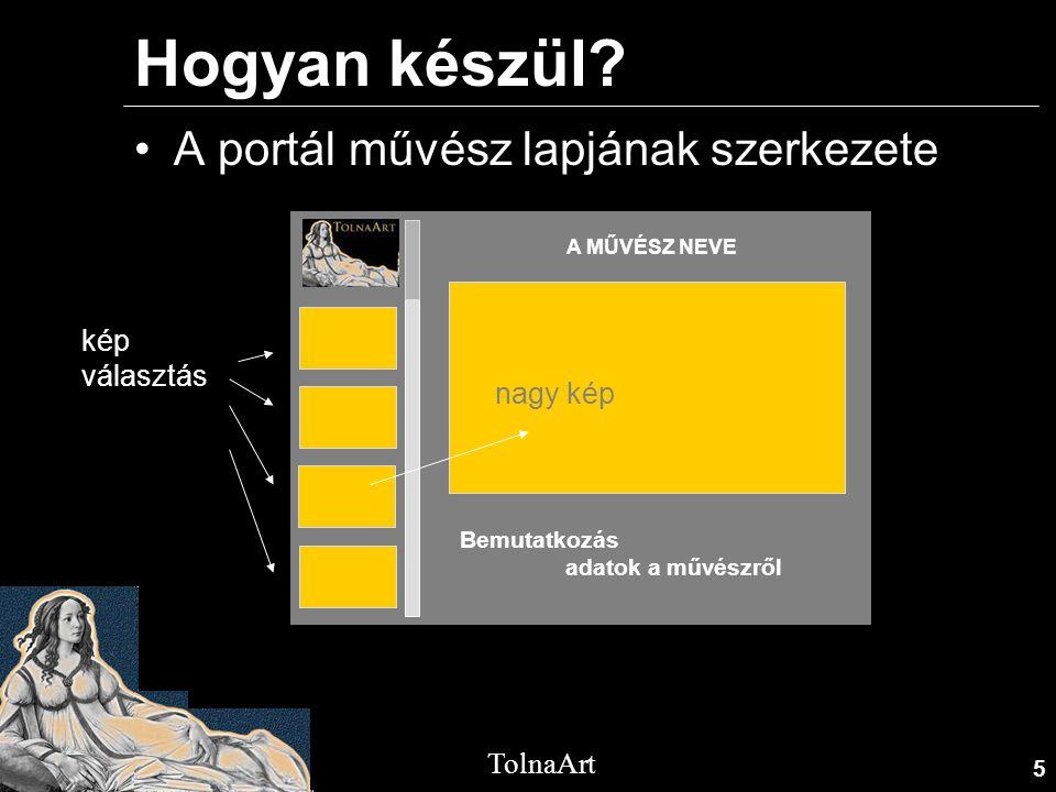 5 TolnaArt Hogyan készül? •A portál művész lapjának szerkezete A MŰVÉSZ NEVE Bemutatkozás adatok a művészről kép választás nagy kép