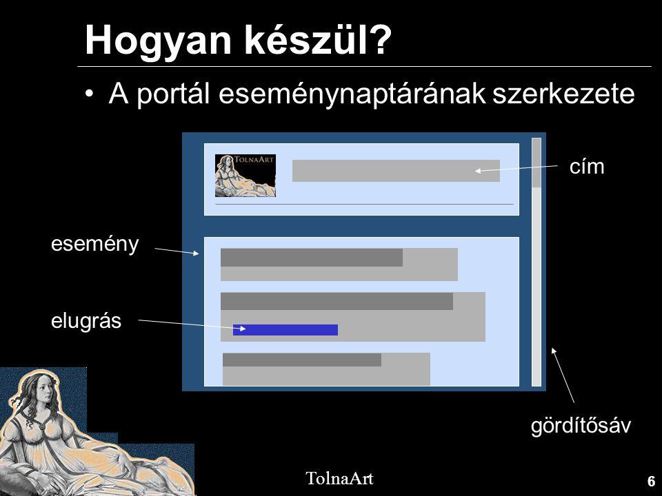 6 TolnaArt Hogyan készül? •A portál eseménynaptárának szerkezete esemény elugrás cím gördítősáv