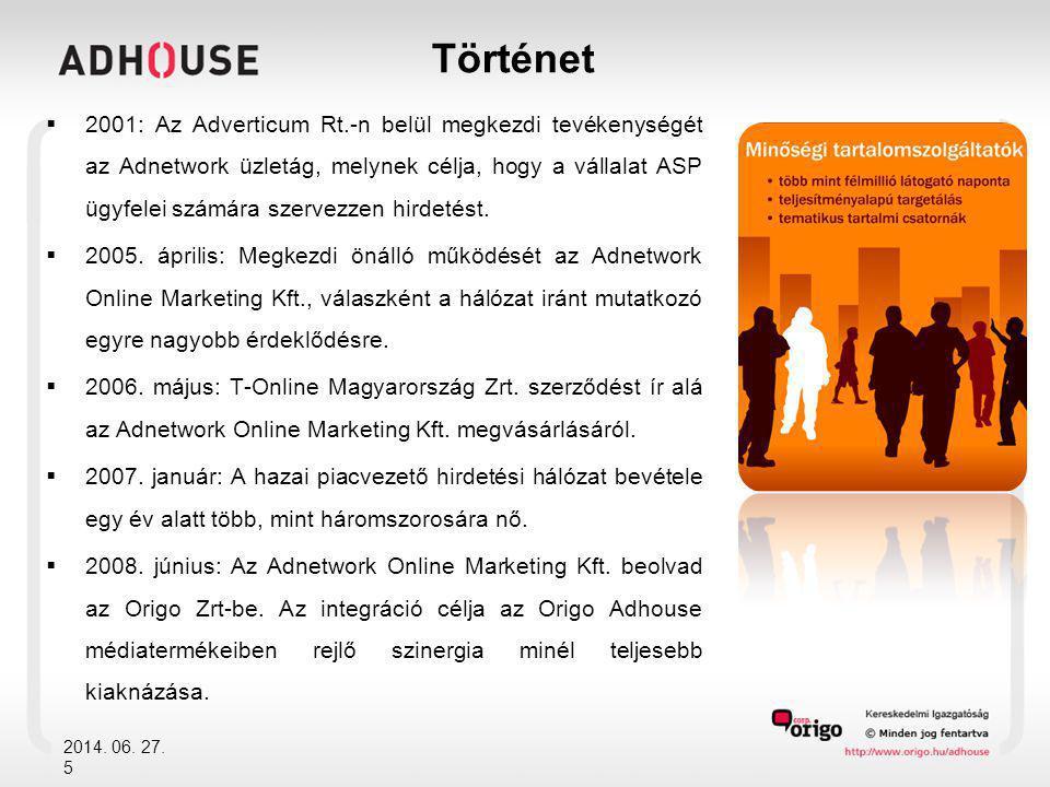 Történet  2001: Az Adverticum Rt.-n belül megkezdi tevékenységét az Adnetwork üzletág, melynek célja, hogy a vállalat ASP ügyfelei számára szervezzen
