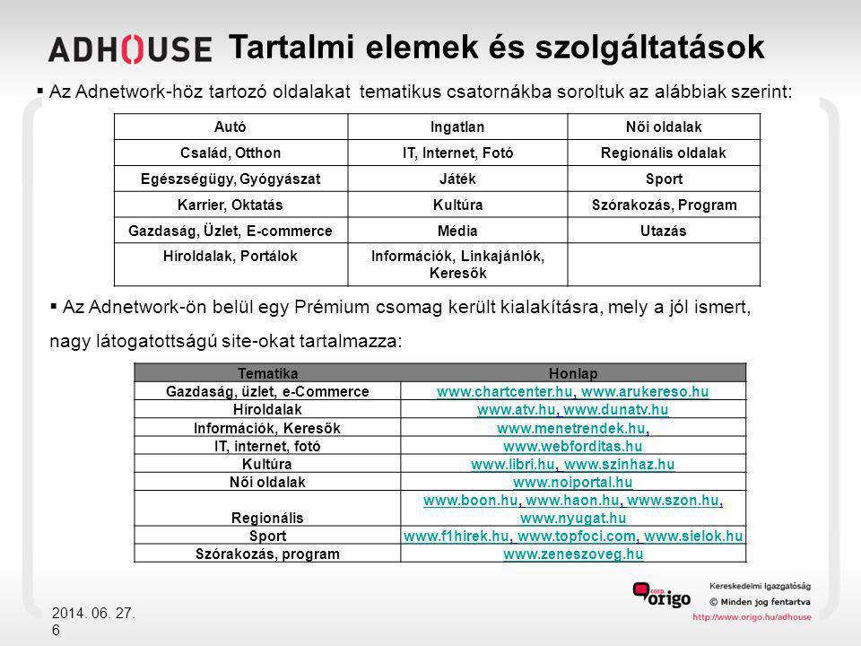 2014. 06. 27. 6 Tartalmi elemek és szolgáltatások  Az Adnetwork-höz tartozó oldalakat tematikus csatornákba soroltuk az alábbiak szerint: TematikaHon