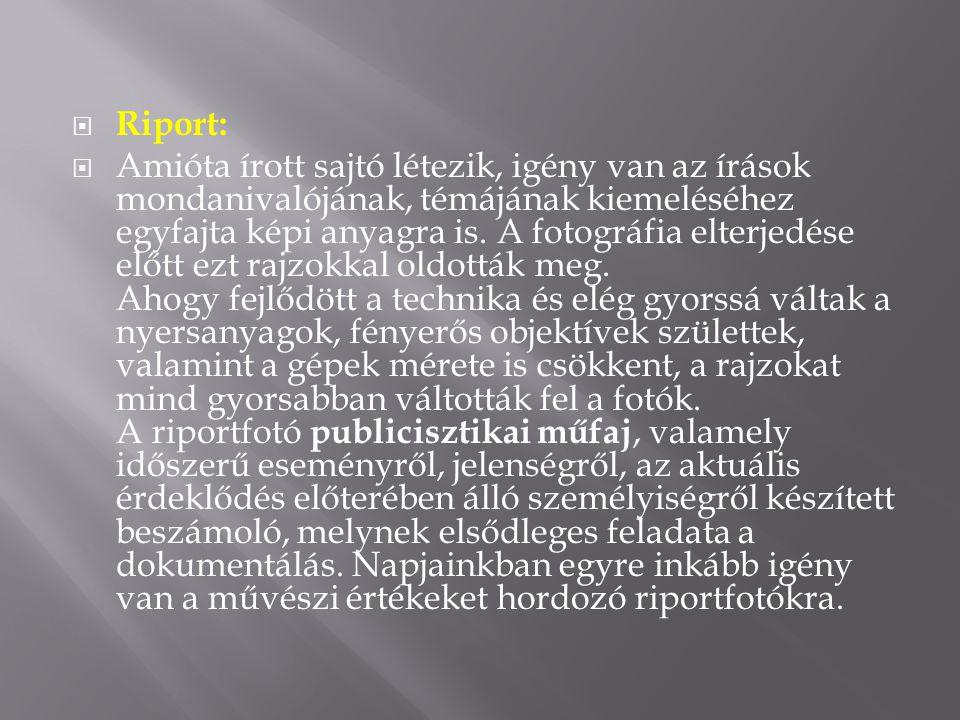  Riport:  Amióta írott sajtó létezik, igény van az írások mondanivalójának, témájának kiemeléséhez egyfajta képi anyagra is.